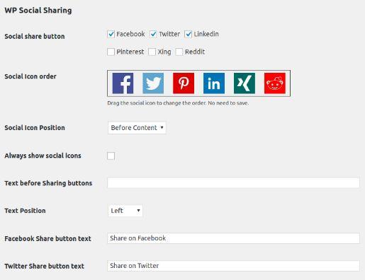 WP Social Sharing - plugin chia sẻ mạng xã hội 6 kênh