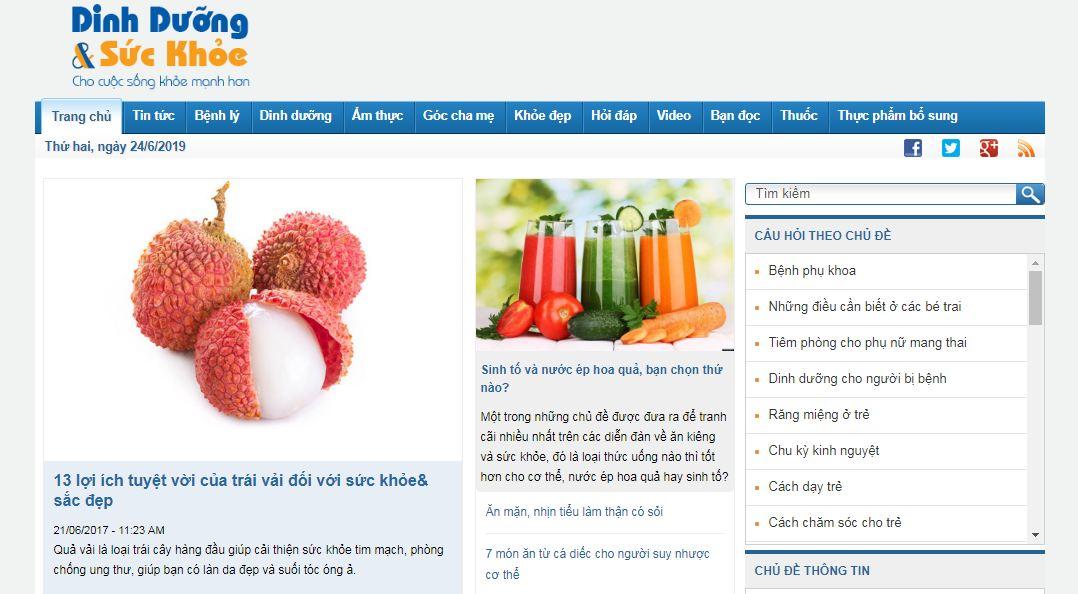 Dinh dưỡng và sức khỏe là một chuyên trang dinh dưỡng và sức khỏe, cung cấp các thông tin về kiến thức dinh dưỡng
