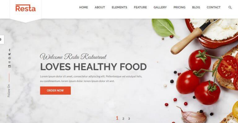 Mẫu website nhà hàng Resta
